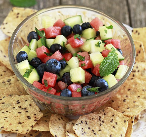 Minted Watermelon, Cucumber, and Blueberry Salad