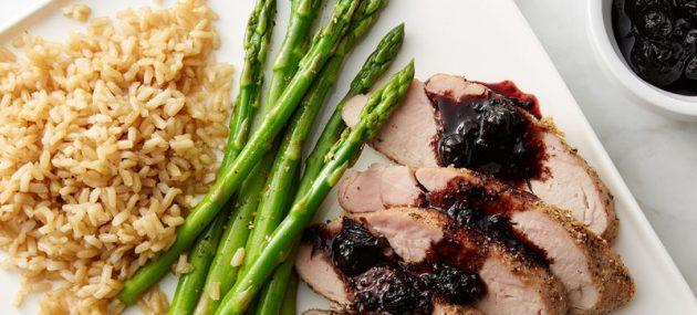 Pork Tenderloin with Blueberry-Bacon Barbecue Sauce