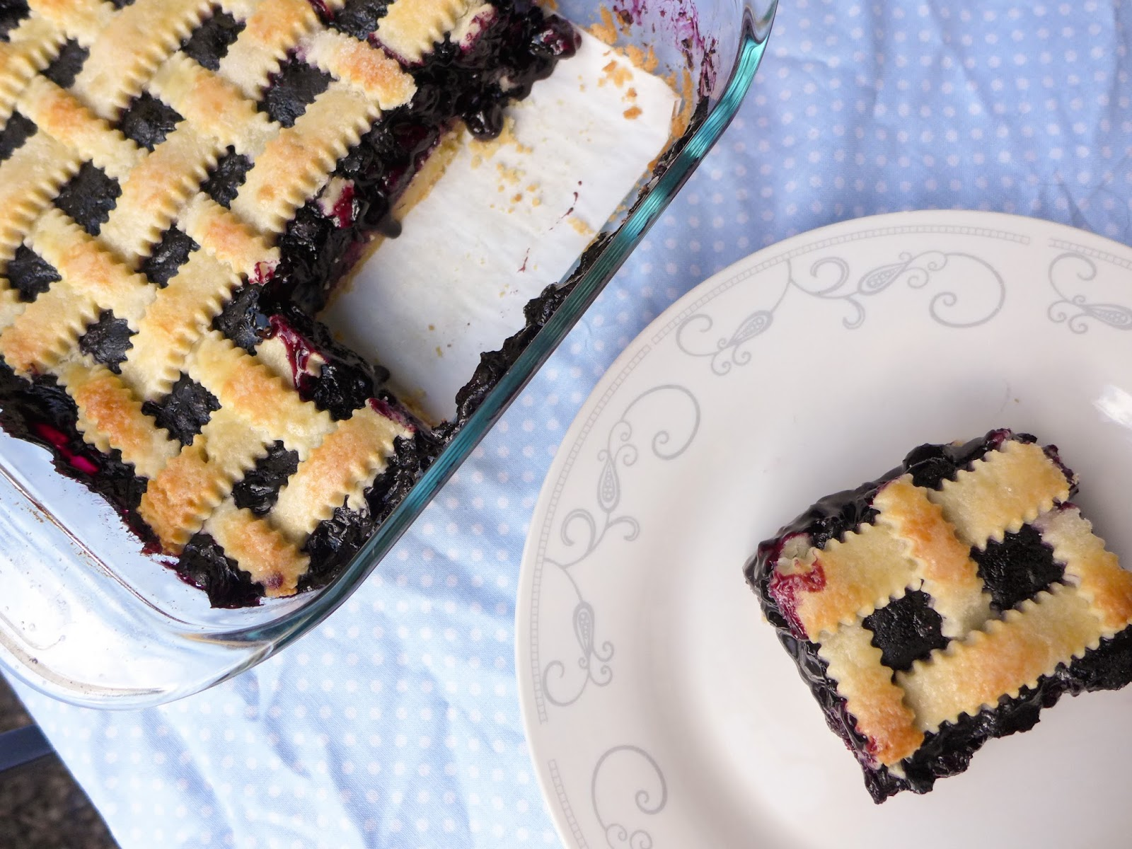 Square blueberry pie