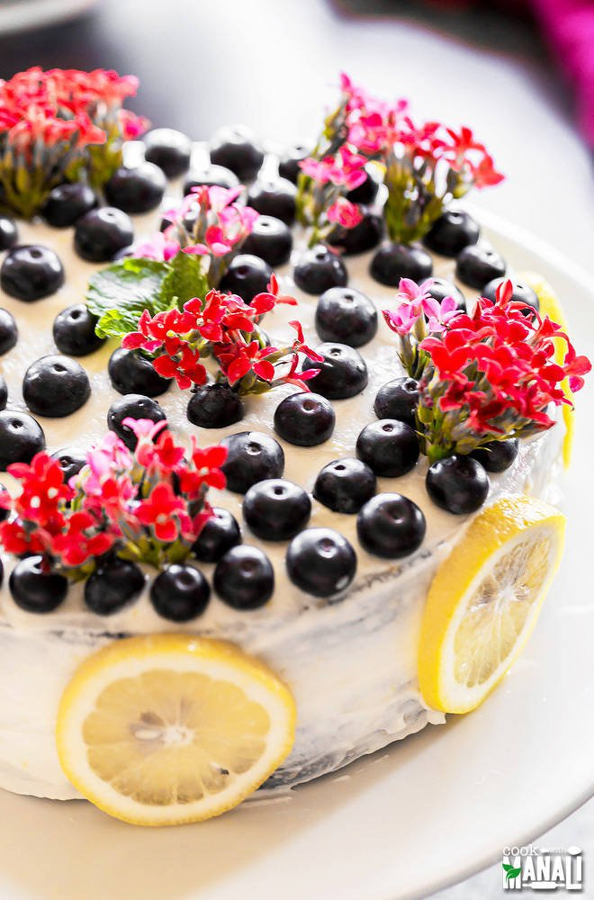 Eggless Blueberry Lemon Cake