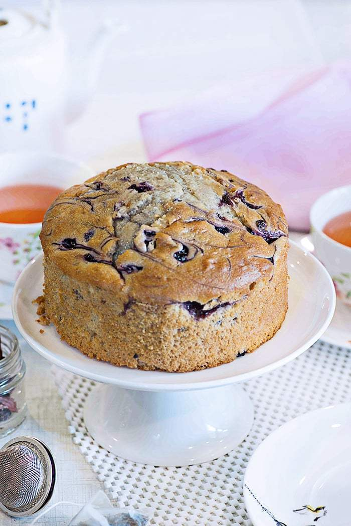 Eggless Whole Wheat Blueberry Cake
